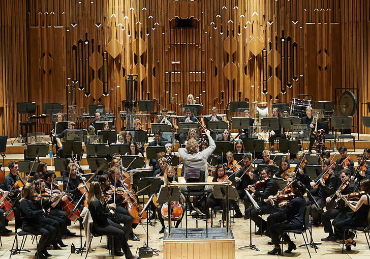 Guildhall Symphony Orchestra on stage in Barbican Hall