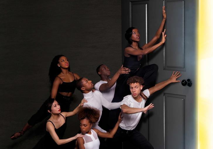 The Ballet Black Company in The Waiting Game by Mthuthuzeli November. Photography by Holly McGlynn
