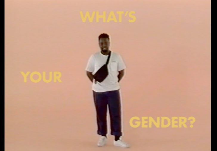 campbell addy against a pink background and yellow text saying 'what's your gender'