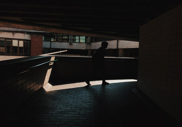 some man in the shadow at the barbican