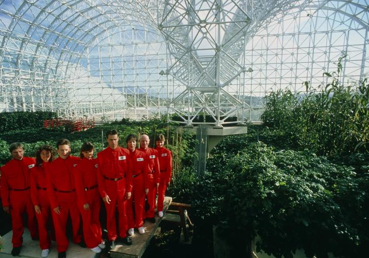 people in red boiler suits standing in a massive green house