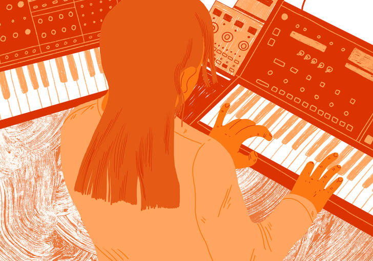 illustration of a person playing synth music