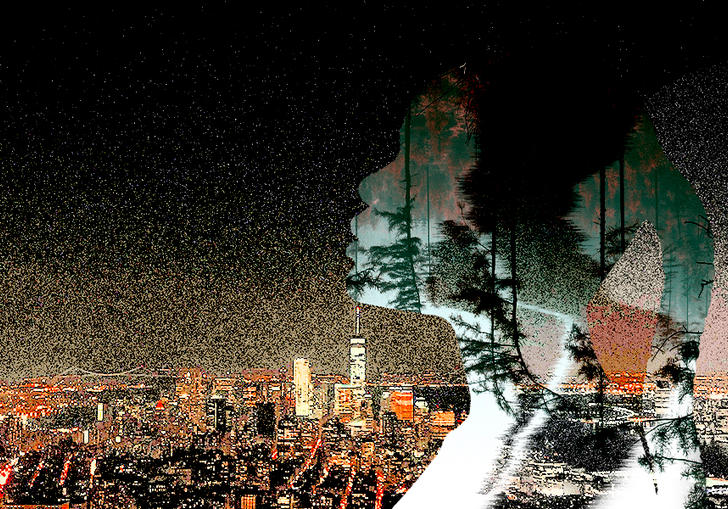 The silhouette of a woman's head and shoulders containing imagery of a forest, set against the backdrop of a city at night