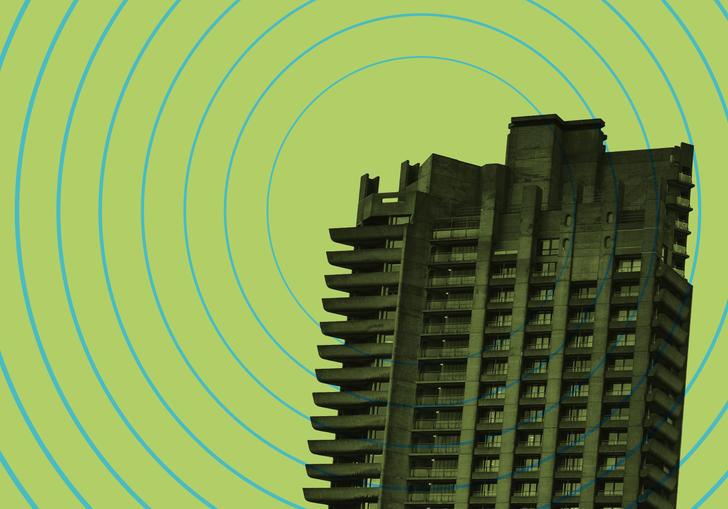 One of the Barbican towers on a lime green background with blue broadcast waves emitting from it