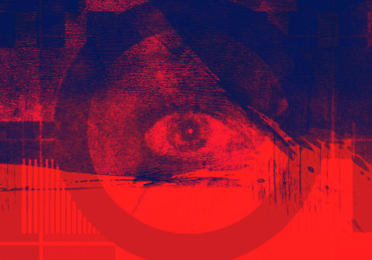 red and dark blue graphic artwork showing an abstract image of an eye insode a circle