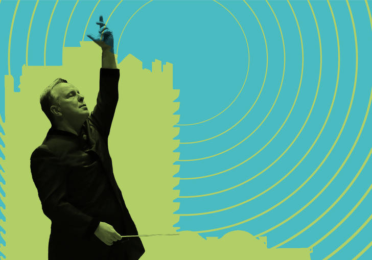 Outline of Sakari Oramo conducting in front of a Barbican tower