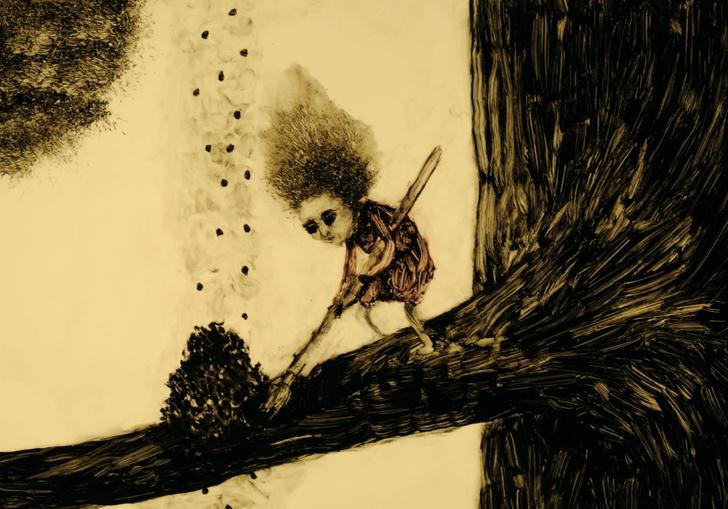 animation of a woman with hair sticking up burning a fire on a tree