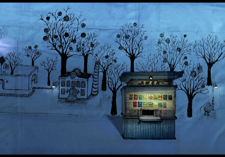 Animation: a row of sketched kiosks on a blue street with sparse trees