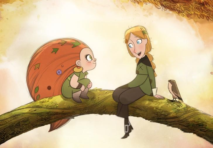 Two animated girls sit on a branch