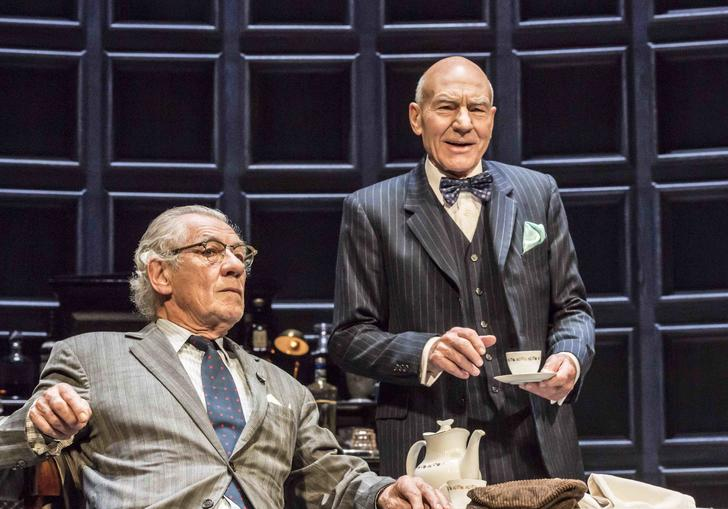Sir Patrick Stewart and Sir Ian McKellen act on stage together in No Man's Land