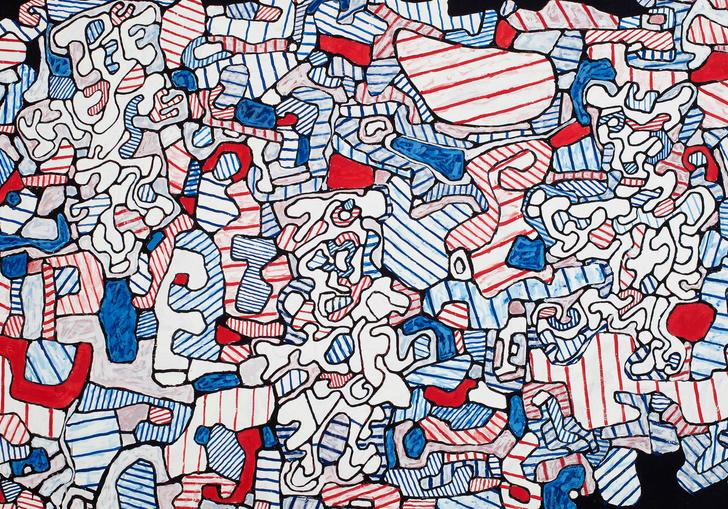 a Jean Dubuffet painting featuring white, red and blue abstract shapes