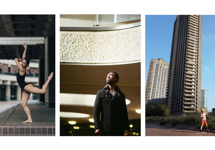 three photos of people in front of the barbican
