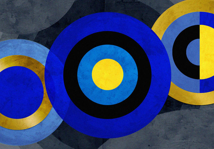 graphic-designed image of three blue gold and black concentric circels