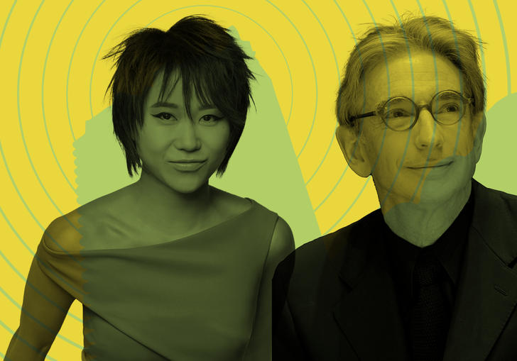 Yuja Wang and Michael Tilson Thomas in front of the Barbican tower with radio waves emitting from it