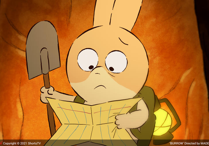 a bemused animated bunny holding a spade and looking at a map