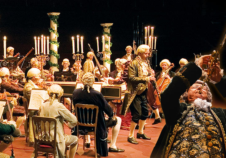 Landscape image of the Mozart Festival Orchestra in period costume
