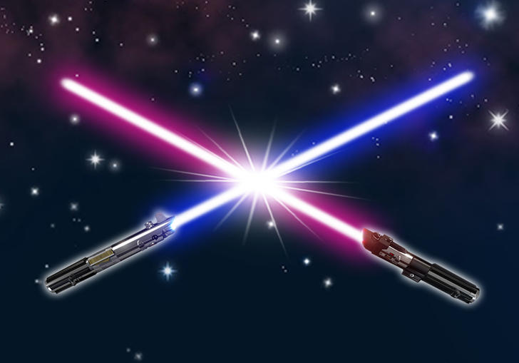 Illustration of two lightsabers clashing