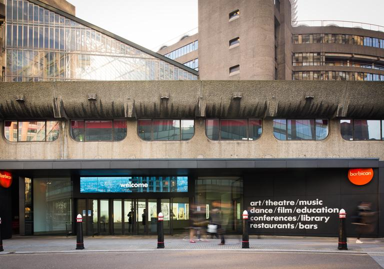 Photo of Silk Street entrance to the Barbican Centre
