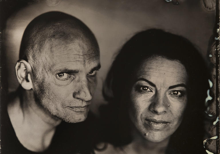 Photo of two people in black and white