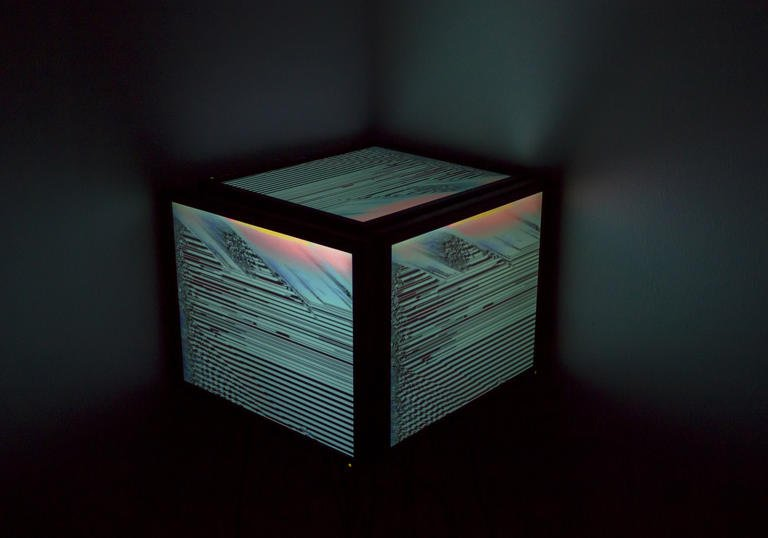 a large glowing box inside a darker box