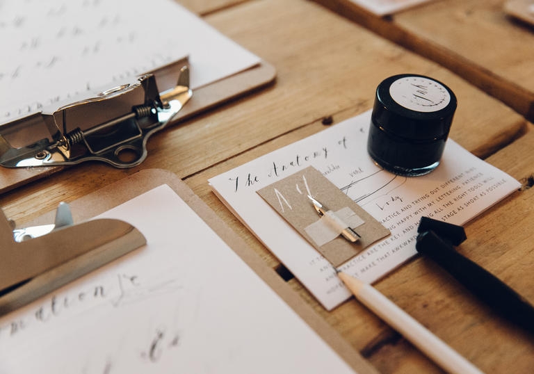 Calligraphy workshop in the Barbican Shop