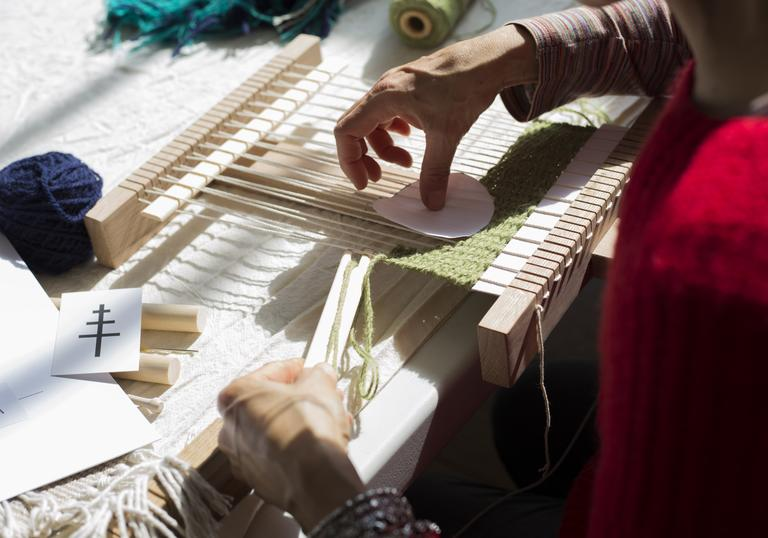 Detail of weaving workshop with Christabel Balfour featuring loom