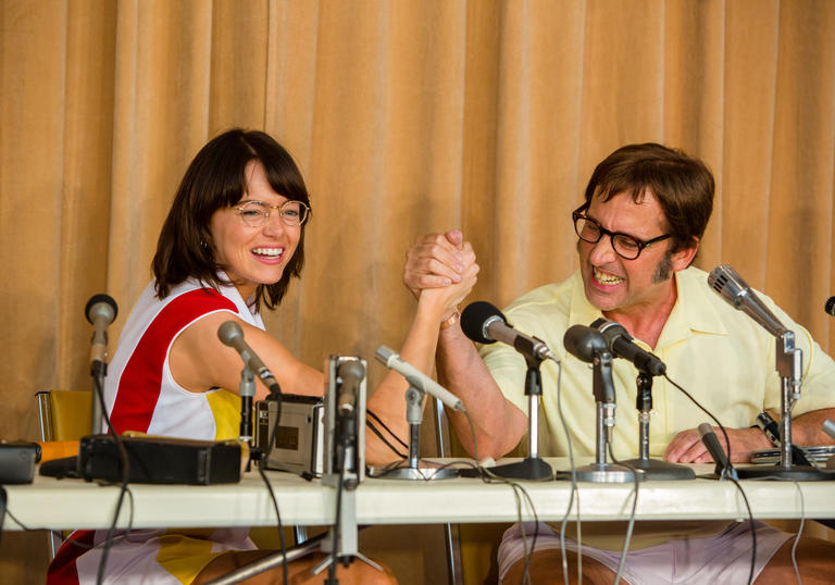 A still from Battle of the Sexes starring Emma Stone and Steve Carrell