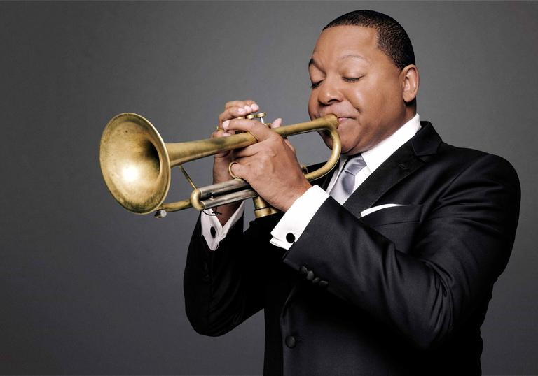 Wynton Marsalis playing his trumpet