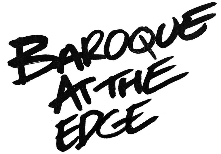 black letters on white background saying baroque at the edge