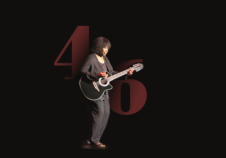 Joan Armatrading standing jauntily with her guitar in front of some giant numbers