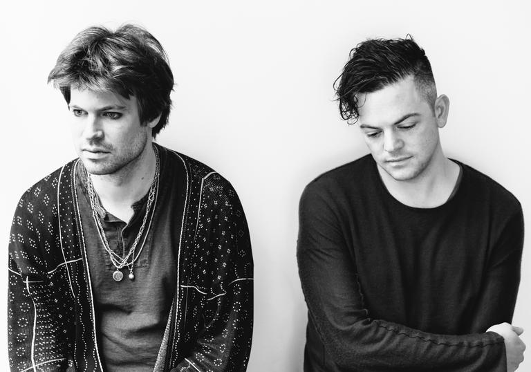 B&W picture of Nico Muhly and Thomas Bartlett