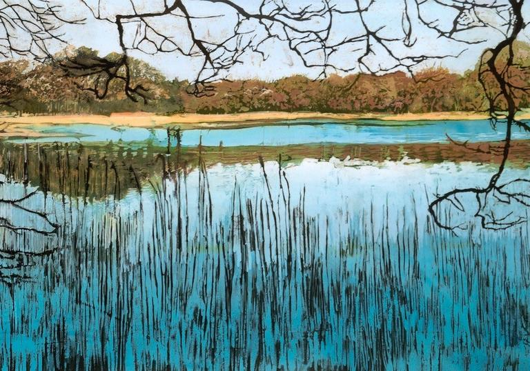 Reeded Loch, Batik painting on cotton, Rosi Robinson,