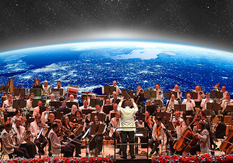 Orchestra performing in front of planet Earth