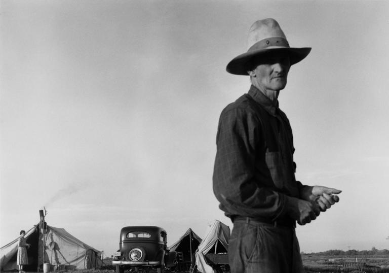 A photograph by Dorothea Lange entitled 'Drought Refugees'