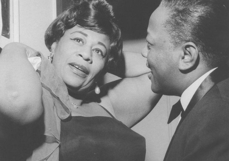 Image of Ella Fitzgerald for Barbican Centre Women in Jazz Music Library Exhibition in collaboration with National Jazz Archive