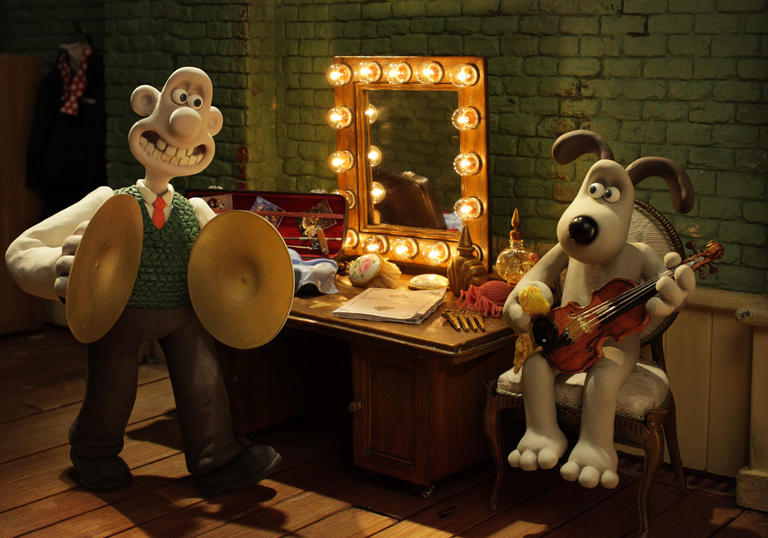 Wallace and Gromit playing instruments