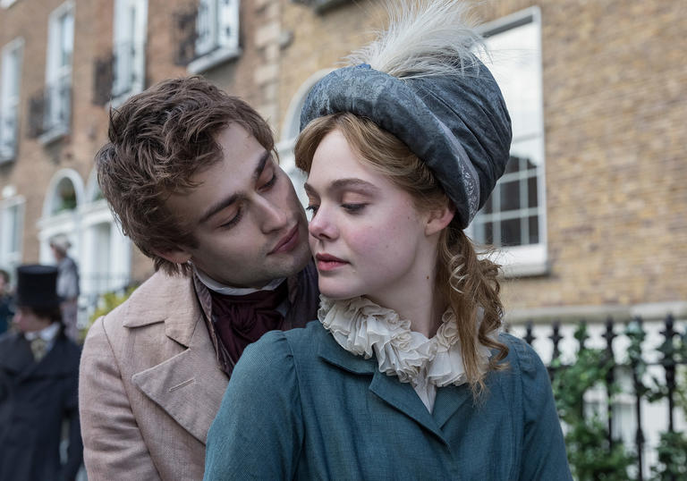 Elle Fanning and Douglas Booth as young literary lovers in Mary Shelley