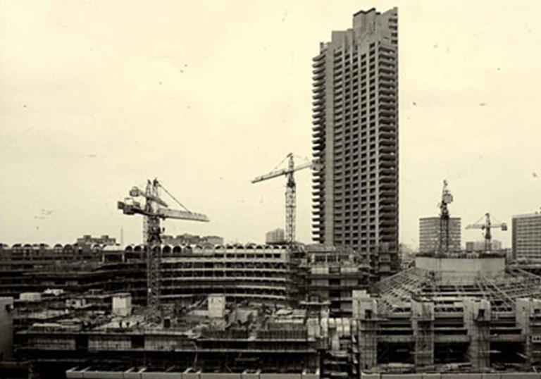 Archive photo of the Barbican during construction