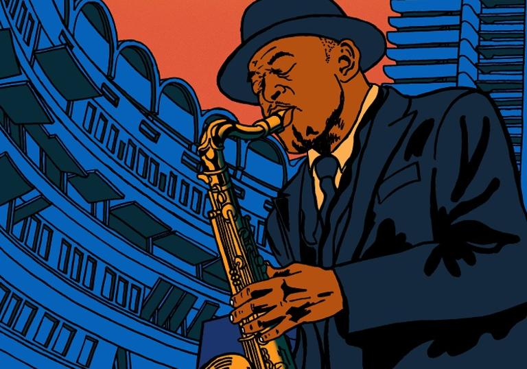 An illustration of Archie Shepp playing saxophone at the Barbican