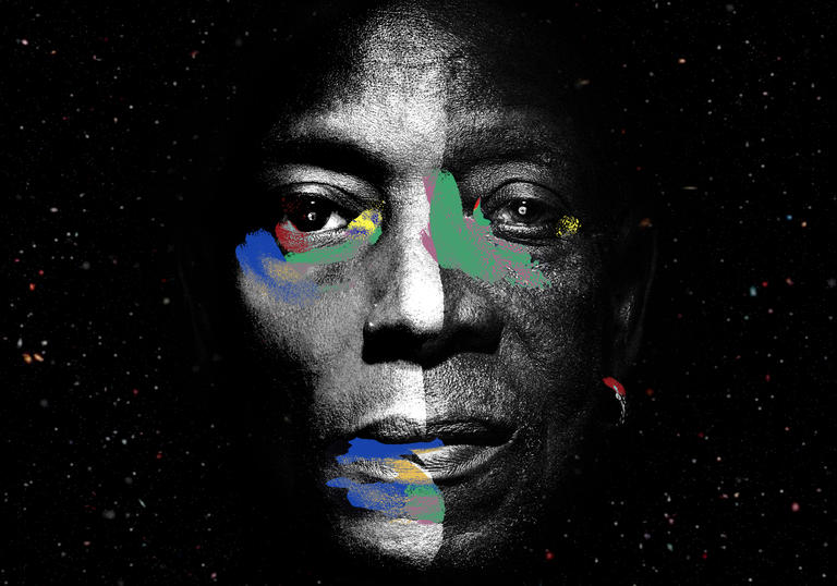 A composite image of Tony Allen and Jeff Mill's faces overlayed on each other