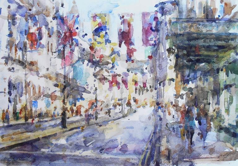 Flags over Piccadilly 2, Andrew Horrod, Drawing London,