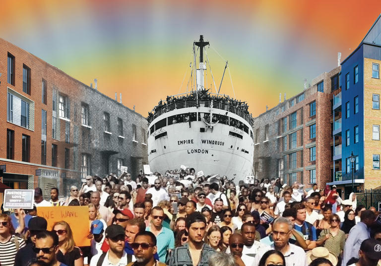 An artists imagining of the HMS Windrush coming in to dock in a contemporary UK city