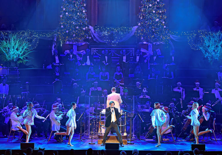 Jingle Bell Christmas stage blue