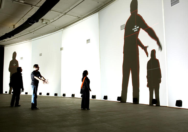 Shadows on gallery wall