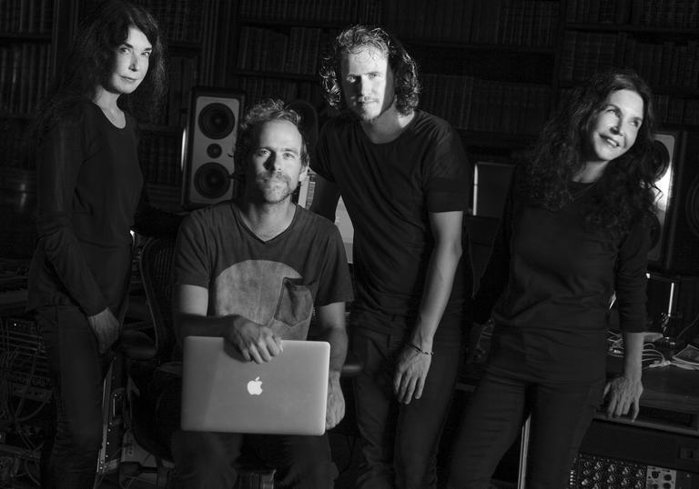 Katia & Marielle Labaque, Bryce Dessner and David Chalmin with a laptop