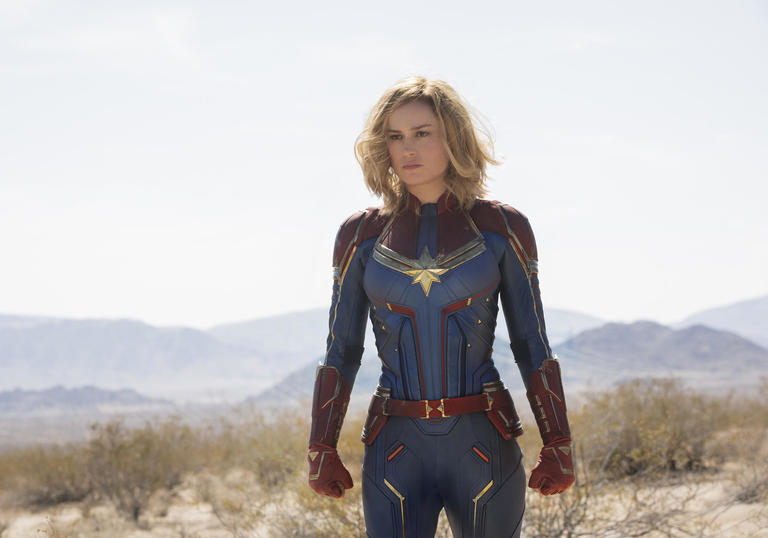 Shot of Brie Larson as Captain Marvel