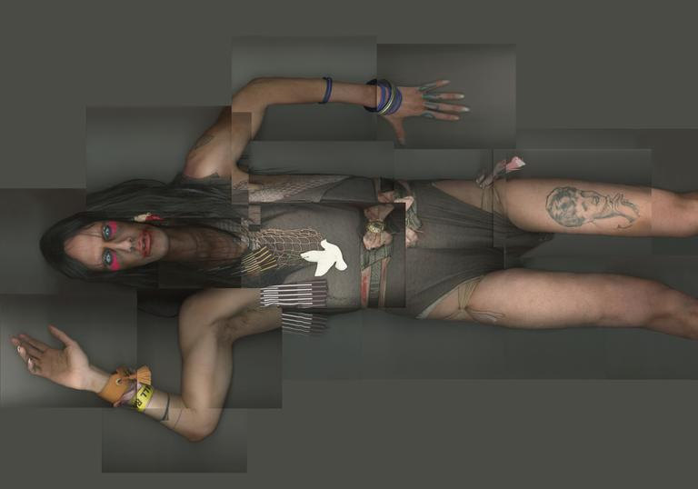 A full body scan image of Christeene wearing a grey leotard and long boots, she has a tattoo on her left thigh