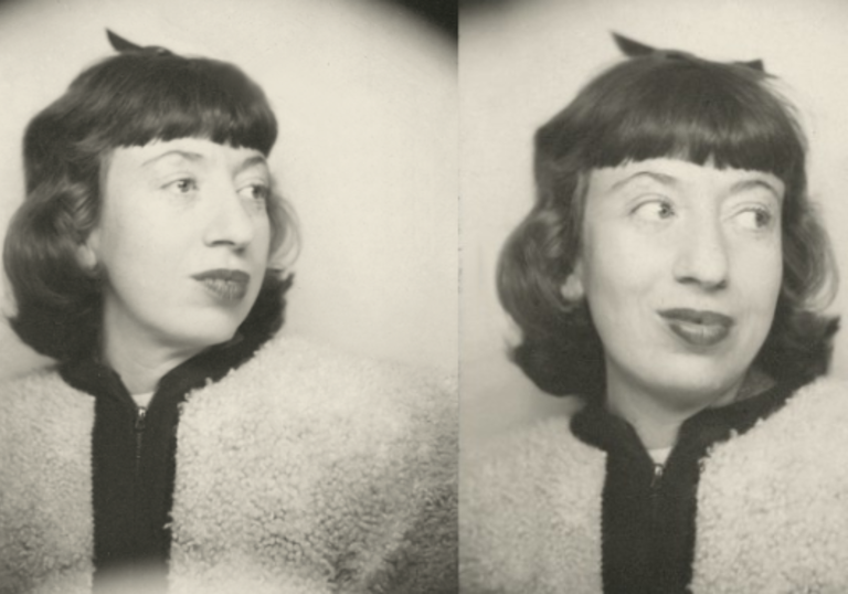 three black and white photobooth photos of lee krasner