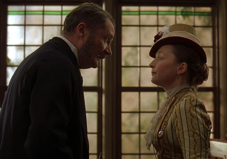 Jim Broadbent and Lesley Manville in Victorian costume.