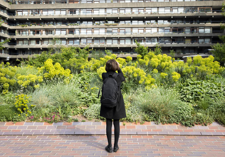 photo of someone looking at a lot of plants in front of the barbican centre